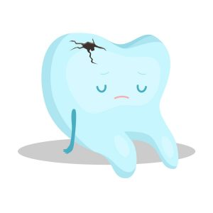 blue tooth with black cavity sitting and feeling depressed vector stock photo